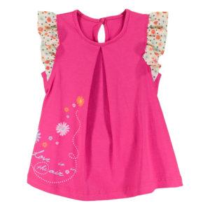 Детска рокля, Циклама с ръкавче-крилце на точки