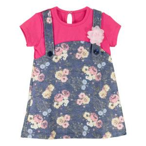 Детска рокля, Циклама и деним, с цветя