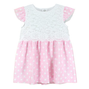 Детска рокля, Розова, с бели точки и дантела