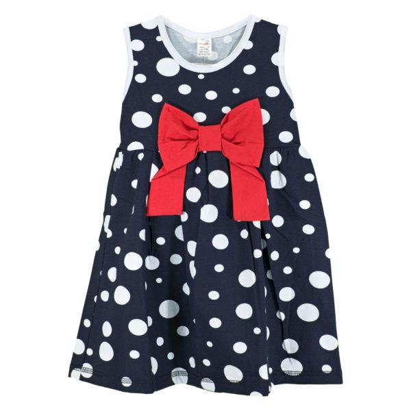 Детска рокля, Тъмно синя, на бели точки, с червена панделка
