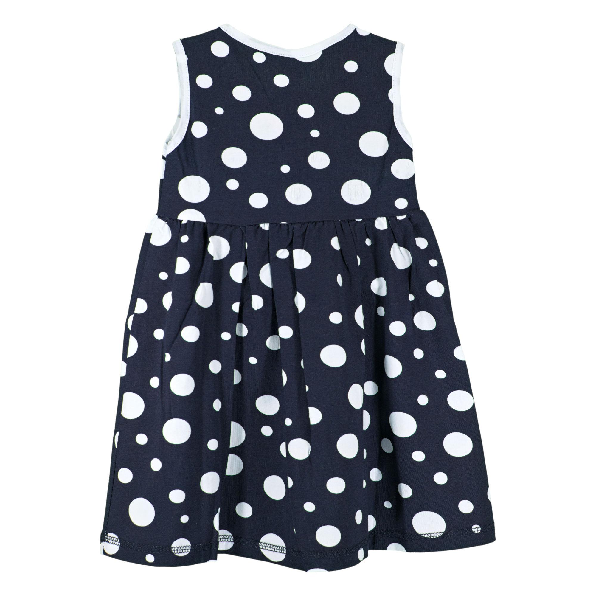 fd2e9c012c9 Детска рокля, тъмно синя, на бели точки, с червена панделка ...