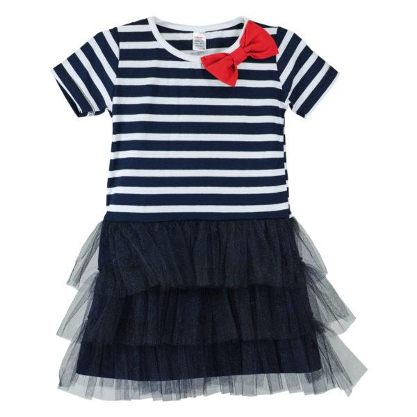 Детска рокля, моряшка, къс ръкав, тюл