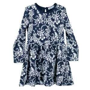 Детска рокля, Тъмно синя с бели цветя