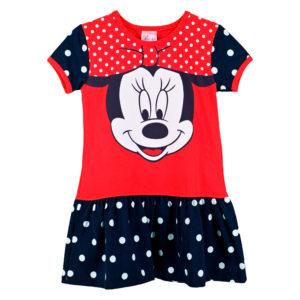 """Детска рокля """"Мини Маус"""", Синя и червена, с точки"""