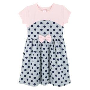Детска рокля, Розово и сиво, с тъмно сини точки и панделка