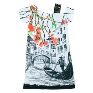 """Детска рокля """"Венеция"""", асиметричен ръкав"""