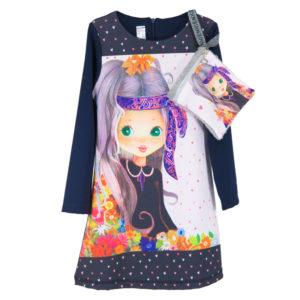 """Детска рокля """"Момиче с цветя и сърца"""", с чантичка"""