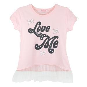 """Детска блуза """"Обичай ме"""", розова, къс ръкав, тюл"""