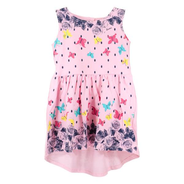 Детска рокля, Розова, с рози и пеперуди