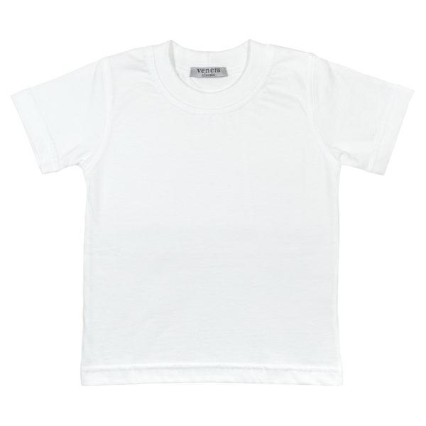 Детска тениска, бяла, къс ръкав, за бельо или спорт
