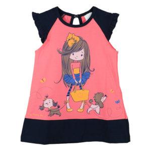 Детска рокля, корал, момиче с кученца