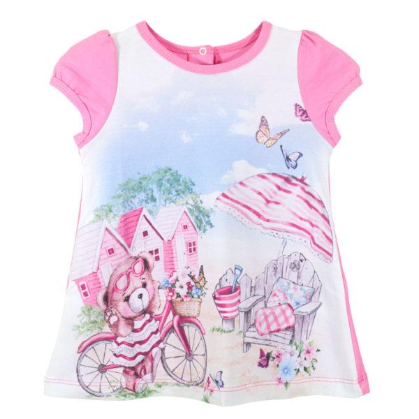 Детска рокля, розова, мече с велосипед
