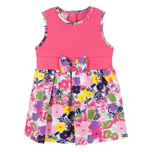 Детска рокля, светла циклама, с цветя и панделка
