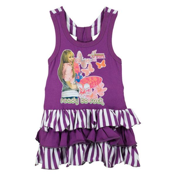 """Детска рокля, лилава, """"Хана Монтана"""", с къдрички"""
