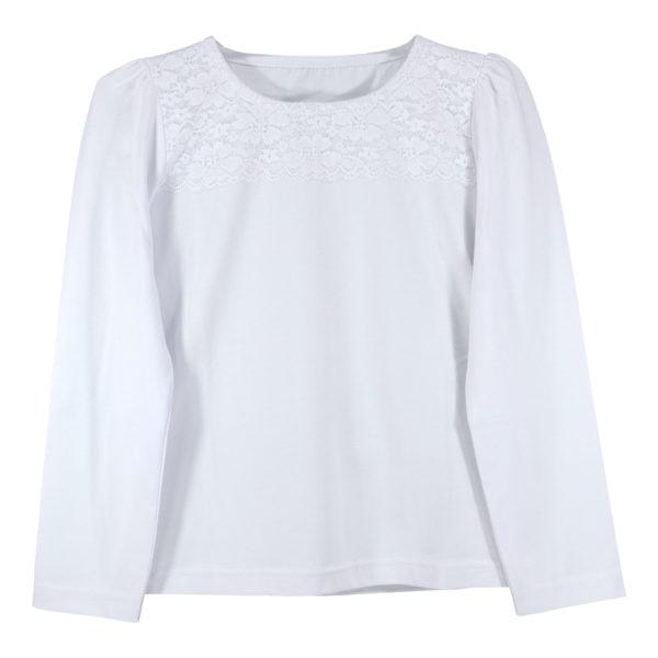 Детска блуза, бяла, с дантела