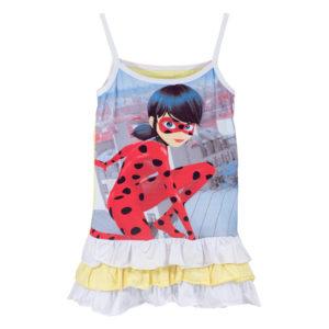 """Детска рокля """"Калинката и котарака"""", тънки презрамки, къдрички"""