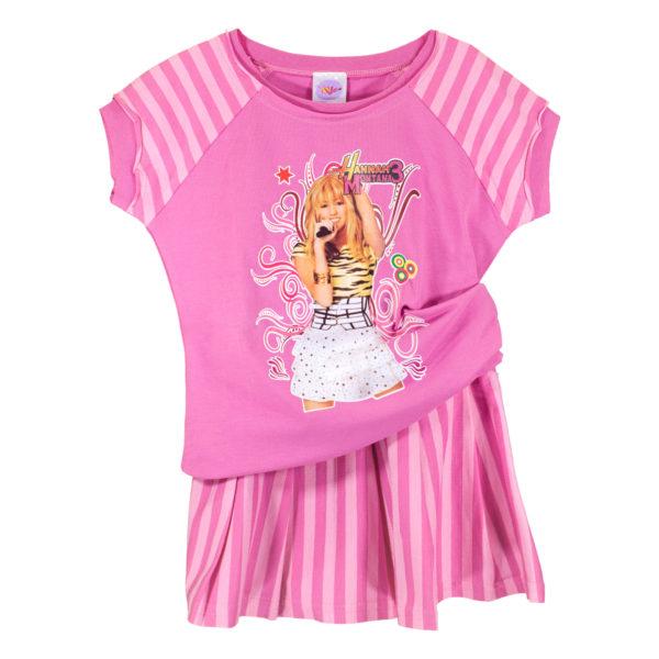 """Детски комплект блуза и пола, """"Хана Монтана"""", тъмно розово рае"""