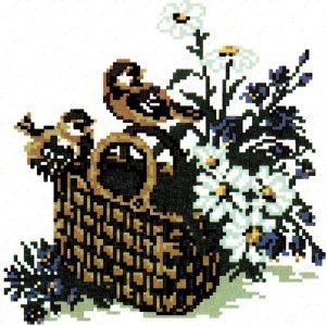 Щампиран гоблен Кошница с цветя, Basket with flowers printed tapestry, B515