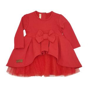Детска рокля, червена, дълъг ръкав, с тюл и панделка