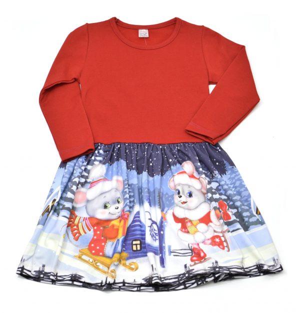 """Детска рокля """"Зимна приказка"""", червено и синьо, дълъг ръкав"""