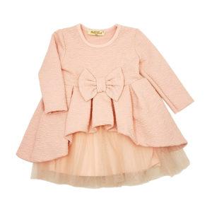 Детска рокля, розова, дълъг ръкав, с тюл и панделка