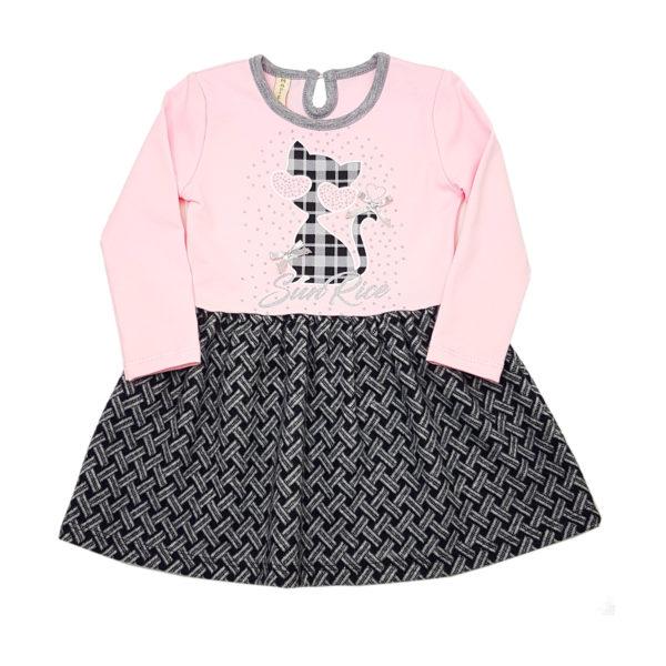 Детска рокля, розово и сиво, с коте и панделки