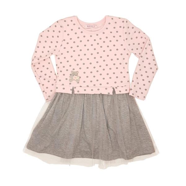 Детска рокля, розово и сиво, с тъмно сиви точки