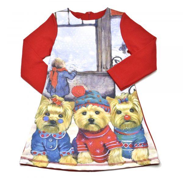"""Детска рокля """"Три йоркита и дете"""", червено и синьо, дълъг ръкав"""