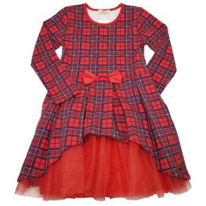 Детска рокля, червено и тъмносиньо каре, дълъг ръкав, тюл