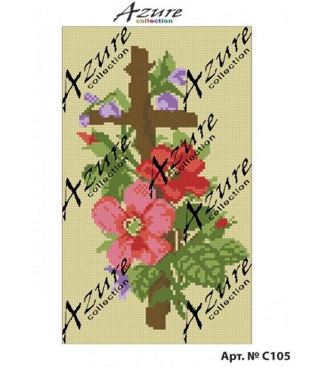 Щампиран гоблен Кръст с цветя, Cross with flowers printed tapestry, C105