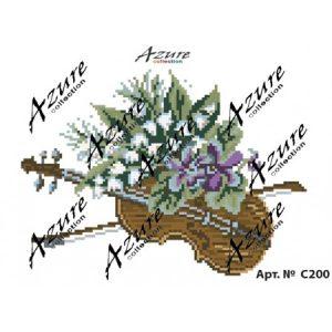 Щампиран гоблен Цигулка с цветя, Violin with flowers printed tapestry, C200