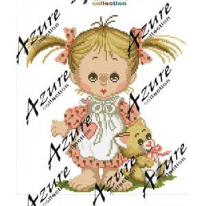 Щампиран гоблен Момиче с коте, Girl with a Kitty printed tapestry, D608