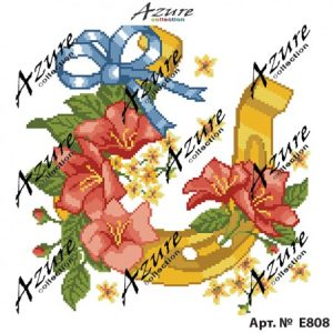 Щампиран гоблен Подкова с цветя, Horseshoe with flowers printed tapestry, E808
