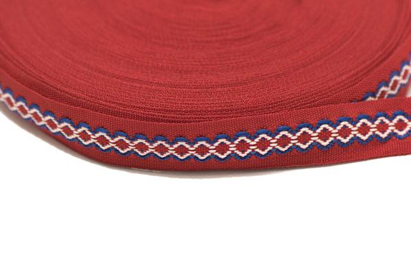 Лента с фолклорни мотиви (шевица), в червен, бял и син цвят, 1.8 см