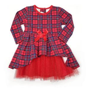 Детска рокля, червена, синьо каре, дълъг ръкав, с тюл и панделка