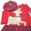 Детска рокля, червено и синьо каре, коледна, барета и сърничка