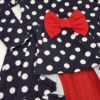 Детска рокля, синя, с бели точки и червена панделка и шифон