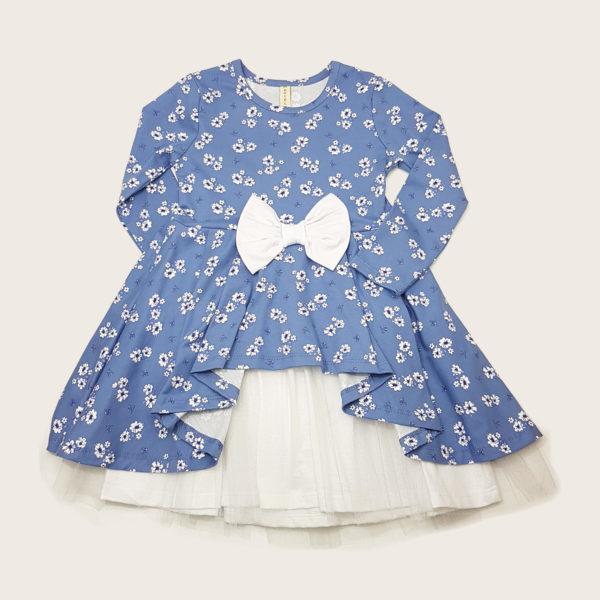 Детска рокля, нежно синя, с бели цветчета, панделка и шифон