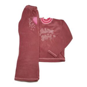 Детски комплект (горница и долница анцуг), полар, розов